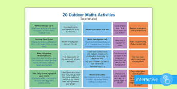 Marvellous Maths Week Outdoor Activities Second Level Plan - maths week, scotland, numeracy, initiative, outdoor learning,