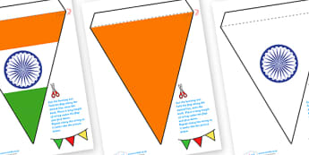 Indian Flag Bunting - indian, flag, bunting, flag bunting, indian bunting, india bunting, india, indian flag,, classroom bunting, indian #decoration