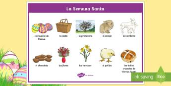 Easter SpanishWord Mat - Spring, KS2, Spanish, MFL, easter, word mat,Spanish