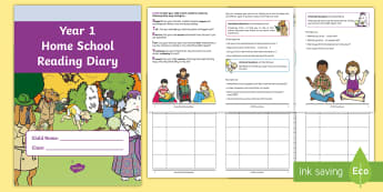 Year 1 Home School Reading Diary Booklet - Year 1 Home School Reading Diary Booklet - reading record, new class, transition, home learning, y1,