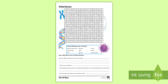 Inheritance Word Search - gametes, mitosis, meiosis, genome, chromosomes