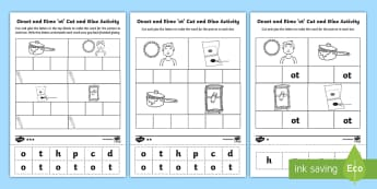 Onset and Rime 'ot' Cut and Glue  Differentiated Activity Sheets-Australia - EYLF, Literacy, phonological awareness, onset and rime, cvc words, english, kindergarten, pre-primar