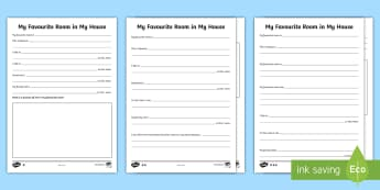 My Favourite Room in My House Differentiated Activity Sheets - World Around Us KS2 - Northern Ireland, homes, houses, living room, bedroom, bungalow, semi-detached