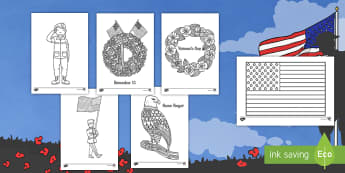 Veteran's Day Themed Mindfulness Coloring Activity - Veteran's Day, coloring, November 11, activity, military, honor, memorial