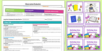 Workshop Area Editable Continuous Provision Plan and Challenge Cards Pack Nursery FS1