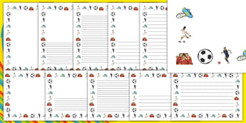Rio 2016 Olympics Football Page Borders - Football, Olympics, Olympic Games, sports, Olympic, London, 2012, page border, border, writing template, writing aid, writing, activity, Olympic torch, events, flag, countries, medal, Olympic Rings, mascots,