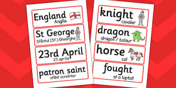 St. George's Day Word Cards Romanian Translation - Romanian, card