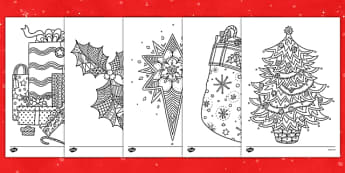 Christmas Themed Mindfulness Colouring Sheets - colouring, pd, fine motor skills, well being, stress, relax, unwind, early years, ks1, ks2, art, home learning, display, christmas, festive, holidays, present