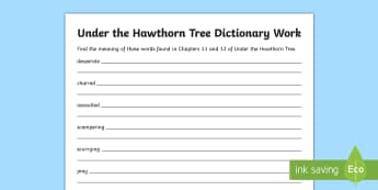 Chapters Eleven and Twelve Dictionary Work Activity Sheet to Support Teaching on Under the Hawthorn Tree - Resources to Support The Teaching Of Under the Hawthorn Tree, Resources to Support The Teaching Of U