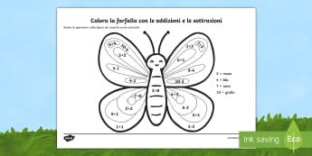 Colora la farfalla con le addizioni e le sottrazioni Fogli da colorare - colora, con, le, addizioni, sottrazioni, calcoli, operazioni, matematica, italiano, italian, materia