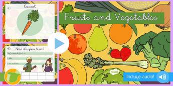 Presentación con audio: Frutas y verduras - Inglés - audio, english, lengua extranjera, inglés, fruit, vegetables, ,Spanish-translation