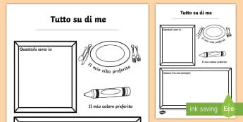 Tutto su di Me Colora e Scrivi Attività - tutto, su, di, me, esercizio, attività, scuola, inizio, nuovo, italiano, italian, materiale, scolas