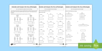 Year 5 Calculate and Compare the Area of Rectangles Differentiated Activity Sheets - Year 5 measurement, area, rectangles, calculate, compare, Calculate and compare the area of rectangl