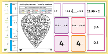 Multiply and Divide Decimals Bingo and Matching Cards Resource Pack - ACMNA129, Divide Decimal Numbers, Decimal Numbers, Decimal Number Division, Divide Decimals By Whole