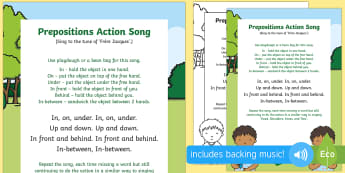 Prepositions Action Song - Singing, Song Time, Position, In, On ,Under, Above, Below, Between, play dough, play doh, beanbag, b