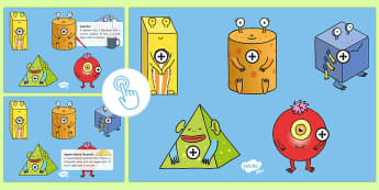 3D Shapes Picture Hotspots - shape space and measure, sphere, cube, cuboid, square-based Pyramid, cylinder, shape aliens