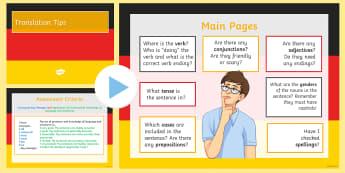 Translation Handy Tips PowerPoint - Tips, Translation, Reference Skills,KS3, New GCSE Preparation, ,German