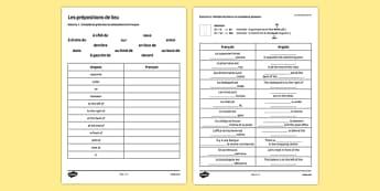 Les prépositions de lieu Exercices - french, place, prepositions, practice, exercises