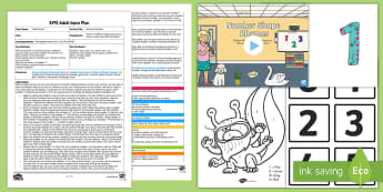 EYFS Monster Numbers Adult Input Plan and Resource Pack - Maths, Numerals, Number Recognition, Number Formation, Writing, Number hunt, EYFS, Early Years Plann