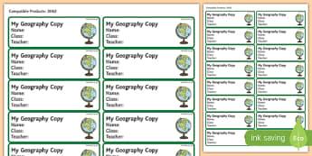 Pupil Geography Copybook Labels-Irish