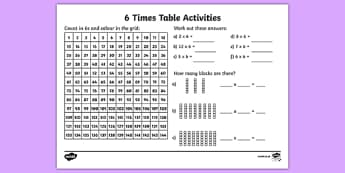 6 Times Table Activity Sheet - six times table, maths, mathematics, multiplication, multiply, times, worksheet, times table, times tables