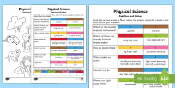 Year 1 Physical Science Questions and Colouring Activity Sheets - worksheet, ACSSU020, colour by number, grade 1, senses, light, sound,Australia