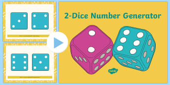 Rolling 2 Dice Number Generator PowerPoint - rolling, roll, 2 die, dice, number generator, powerpoint