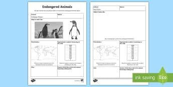 Endangered Animals Fact Sheet - Endangered Animals, Animals, Research, Report, Informational writing, informative