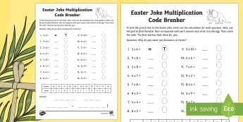 Easter Joke Multiplication Code Breaker Activity Sheet - NI, Easter, joke, code, breaking, numeracy, maths, times tables, multiplication, 2 x, 3x, 4x,5x, 6x,
