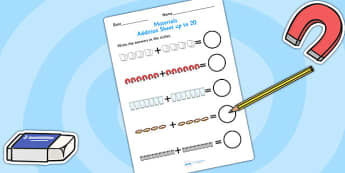 Materials Addition to 20 Worksheet - materials, add, adding