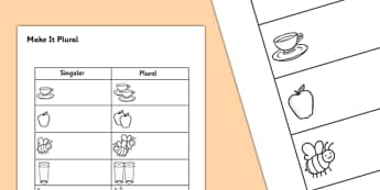 Plurals '-s' and '-es' Worksheet - plural, s, es, worksheet