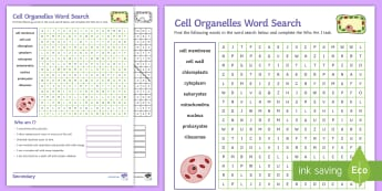 Cell Organelles Word Search - nucleus, mitochondria, Eukaryotes, cell membrane, ribosomes