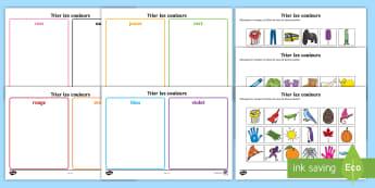 Feuilles d'activités : Trier les couleurs - Couleurs, colours, Cycle 1, trier, sorting, sort,French