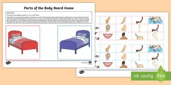 Parts of the Body Board Game German - German Games, German Activities, German body parts, German body, German pair games.,Scottish-transla