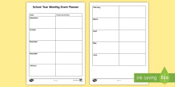 School Yearly Monthly Events Planning Template - overview, annual, 2017, 2018, month events, organised events and days,Irish
