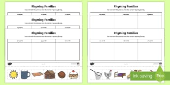 Word Family Sorting Activity Sheet - NI EYFS Literacy, Rhyming, Rhyming families, sorting, reading, onset and rhyme, cvc words,