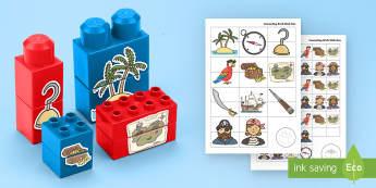 Pirates Matching Connecting Bricks Game - EYFS, Early Years, KS1, Connecting Bricks Resources, duplo, lego, plastic bricks, building bricks, p