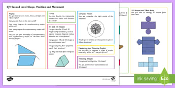 CfE Second Level: Shape, Position and Movement Maths Mat - Numeracy, Benchmarks, 2nd level, assessment materials, assessement Mats,Scottish