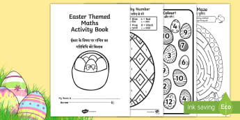 Easter Themed Maths Activity Booklet English/Hindi - Easter Themed Maths Activity Book - easter, maths, activity, book, easer, easster, eatser, eastere,