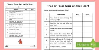 True or False Quiz on the Heart Activity - Canada Valentines Day, heart, true or false, life systems, organ, heart, grade 5.