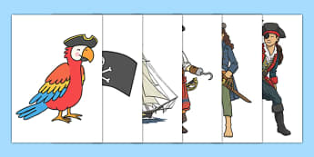 Pirate Cut Outs - pirates, cut outs, display, activity, sea, ship, pirate
