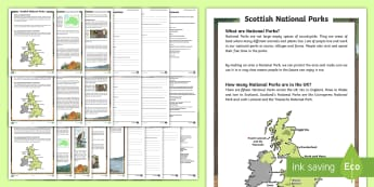 Scottish National Parks Differentiated Reading Comprehension Activity - CfE National Parks Week (24th July 2017), Scotland, physical features, nature, landscapes, mountains