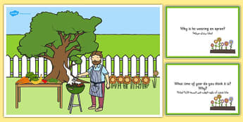 Barbecue Scene and Question Cards Arabic Translation - arabic, barbeque, questions, comprehension pack