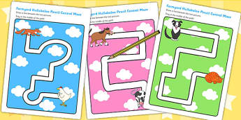 Pencil Control Path Worksheets to Support Teaching on Farmyard Hullabaloo - farm, path