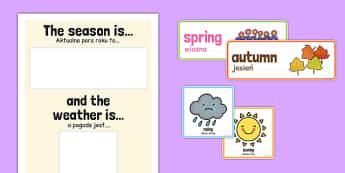 Weather and Season Day Calendar Polish Translation - polish, weather, season, day, calendar