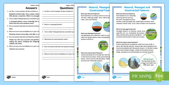 Natural, Managed and Constructed Features Differentiated Reading Comprehension Activity - Australian Curriculum HASS, places, history, natural, locations, change, cared for, familiar feature