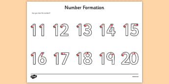 Number Formation Activity Sheet 11-20 - fine motor skills, numbers, worksheet, numeracy, numbers, number formation, 11-20, overwriting