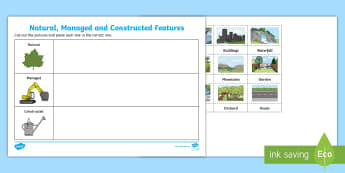 Natural, Managed and Constructed Features Cut and Paste Activity Sheet-Australia - Australian Curriculum HASS, places, history, natural, locations, change, cared for, familiar feature