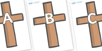 A-Z Alphabet on Crosses - A-Z, A4, display, Alphabet frieze, Display letters, Letter posters, A-Z letters, Alphabet flashcards