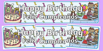 Birthdays Display Banners Spanish Translation - spanish, Display banner, birthday, birthday poster, birthday display, months of the year, cake, balloons, happy birthday